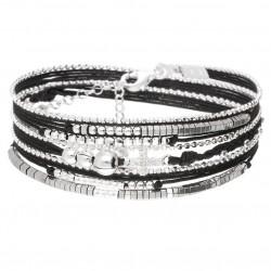 Bracelet CROIX OXYDE Triple tours Perles argent - Hématites & Cordons noirs doriane bijoux