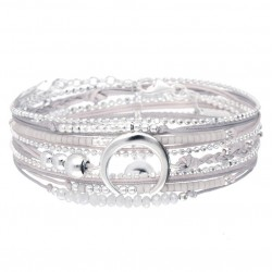 Bracelet multi-tours MOONLIGHT Argent - Cordons gris clair & Croissant DORIANE Bijoux