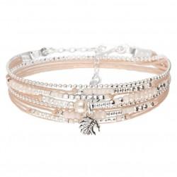 Bracelet multi-tours INDIA argent - Perles Beige Rose & Profil indien DORIANE Bijoux