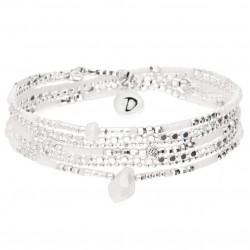 Bracelet élastique multitours LAOS en argent - Perles blanc opaline & Goutte DORIANE Bijoux