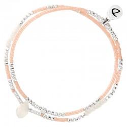 Bracelet multitours élastiqué SPRING argent - Perle opaline rose & Goutte DORIANE Bijoux