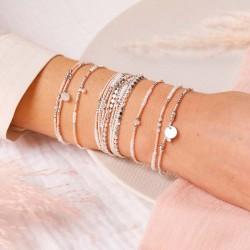 Bracelet multitours élastiqué SPRING argent - Perle opaline rose & Goutte TAILLE S