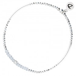 Bracelet élastiqué FLIRTING - Tubes argent & Perles grises claires DORIANE Bijoux