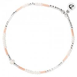 Bracelet élastiqué MYKONOS argent - Opaline Miyuki rose & Perle  DORIANE Bijoux