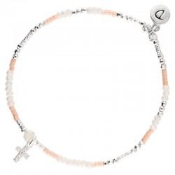 Bracelet élastiqué CROSS argent - Opaline rose & Croix Oxyde DORIANE Bijoux