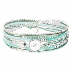 Bracelet multi-tours argent ROSE DES VENTS - Cordons vert & Perles turquoise DORIANE Bijoux
