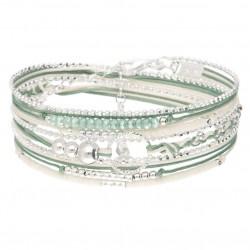 Bracelet TRIPLE TOUR argent - Perles vert amande & Anneau diamanté DIORANE Bijoux