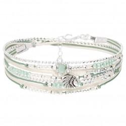 Bracelet double tours INDIA argent - Vert amande & Profil indien DORIANE Bijoux