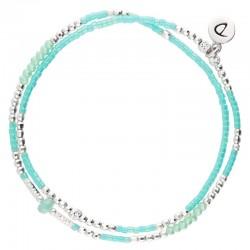 Bracelet multitours élastiqué SPRING argent - Miyuki turquoise & Perle verte DORIANE Bijoux