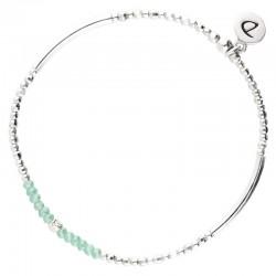 Bracelet élastiqué FLIRTING - Tubes argent & Perles vert turquoise DORIANE Bijoux