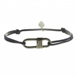 Bracelet Homme Cordon taupe - Corde de basse argent vieilli ovale - SING a SONG
