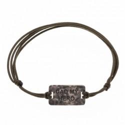 Bracelet Homme MESSAGE cordon noir - Plaque DAD MY HERO argent vieilli - SING a SONG