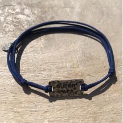 Bracelet Homme MESSAGE cordon bleu - Plaque SUPER PAPA argent vieilli SING A SONG
