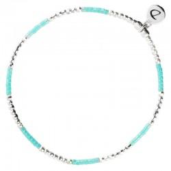 Bracelet élastique NEW BIRDY - Perles argent & Miyuki lagon turquoise SING A SONG