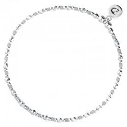 Bracelet élastique FUNNY - Perles argent & Miyuki gris clair DORIANE BIJOUX