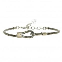 Bracelet Homme JONC YOU & ME - Boucles en corde de basse argent vieilli - SING A SONG