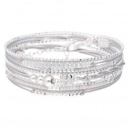 Bracelet CROIX OXYDE Triple tours en argent - Cordons & Perles grises -doriane bijoux