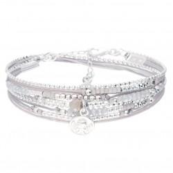 Bracelet double tours SIXTINE argent - Cordons gris & Pendentif Ange DORIANE BIJOUX