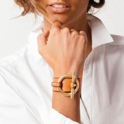 Bracelet Manchette  métal cuir camel - Ceinture & Mors équin