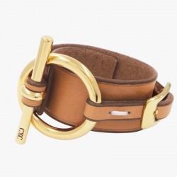 Bracelet Manchette Or cuir camel - Ceinture & Mors équin CXC