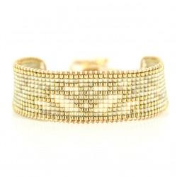 Bracelet cordon manchette ROMANE - Ailes & Miyuki gris ivoire doré BELLE MAIS PAS QUE