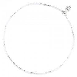 Bracelet de Cheville fin élastiqué en argent & Perles blanches DORIANE BIJOUX