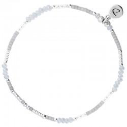 Bracelet de Cheville fin élastiqué en argent & Perles grises DORIANE BIJOUX