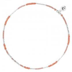 Bracelet de Cheville fin élastiqué en argent & Perles corail DORIANE BIJOUX