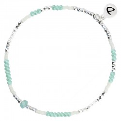 Bracelet fin élastiqué MYKONOS argent - Miyuki & Perles Vert Ivoire DORIANE BIJOUX