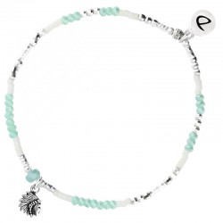 Bracelet élastiqué INDIA argent - Perles Vert Ivoire & Profil indien DORIANE BIJOUX