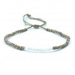 Bracelet de cheville SERENA - Cordons gris rose doré & Quartz rutile BELLE MAIS PAS QUE