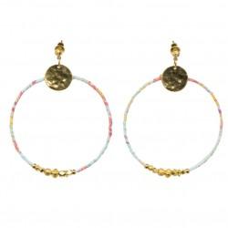 Boucles d'oreilles Créoles Or ASHLEY tissu bleu jaune rose & Perles dorées signées By Garance