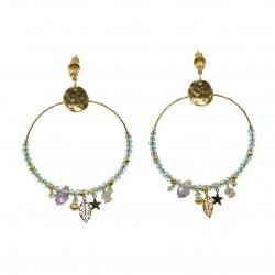 Boucles d'oreilles Créoles Or PRETTY - Pierres bleues & Feuille étoile signées By Garance