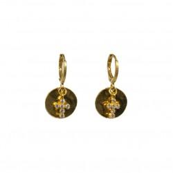 Boucles d'oreilles Or LISE SVARO - Médaille martelée & Croix blanche BY GARANCE