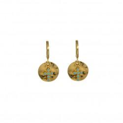 Boucles d'oreilles Or LISE SWARO - Médaille martelée & Croix blanche BY GARANCE