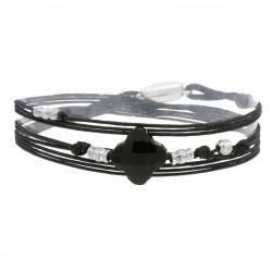 Bracelet multirangs TOSCA perles argent - Cordons & Trèfle noir BY GARANCE