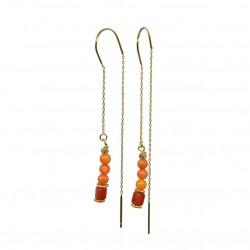 Boucles d'oreilles Pendantes Or CINDY - Chaînes & Perles rouge corail BY GARANCE