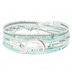 Bracelet multi-tours MOONLIGHT Argent - Cordons Vert Turquoise & Croissant DORIANE BIJOUX