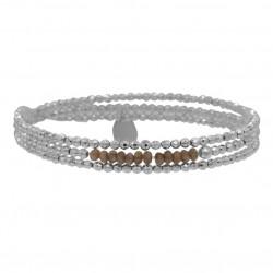 Bracelet multitours élastique YUNA - Hématites argent & Rhodonites BELLE MAIS PAS QUE