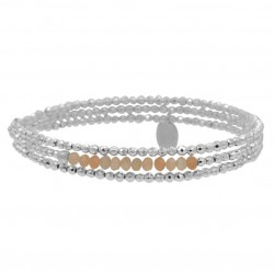 Bracelet élastique multi rangs YUNA - Perles argent & Morganites -  Belle Mais Pas Que