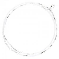 Chevillère multi-tours élastique Blanc Argent - Pierre Opaline