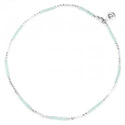 Bracelet de Cheville élastiqué en argent & Perles vert turquoise DORIANE BIJOUX
