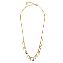 Collier court MADELEINE doré - Pendentifs croix & Perles corail turquoise - by garance bijoux