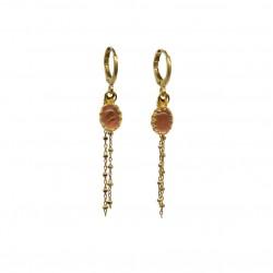 Boucles d'oreilles Pendantes Or DINA - Quartz rose ovale & Chaînes boules signées By garance