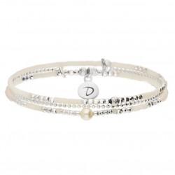 Bracelet élastiqué multitours SPRING argent - Chaîne & Perles crème signé Doriane Bijoux