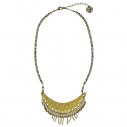Collier ras de cou INDIA doré - Maille fantaisie & Plastron métal cuir perles signé TUNGSTENE