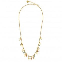 Collier court MADELEINE doré - Pendentifs croix & Perles corail turquoise BY GARANCE