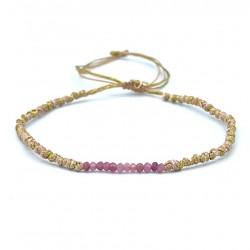 Bracelet de cheville SERENA - Cordons rose doré & Rubis rose BELLE MAIS PAS QUE