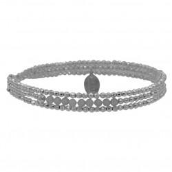 Bracelet multitours élastique YUNA - Hématites argent & Labradorites BELLE MAISPAS QUE