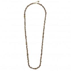 Collier long chaîne doré - Perles coquillages grises  JORGINA
